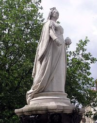 A statue of Victoria stands in the city centre of , England.